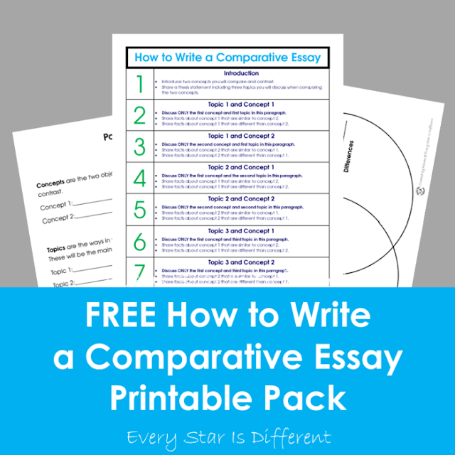 FREE How to Write a Comparative Essay Printable Pack