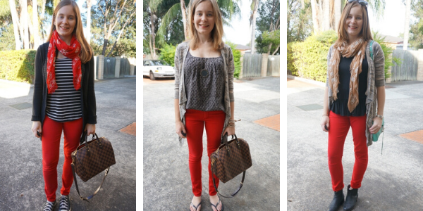 3 ways to wear red skinny jeans with print mixing | away from the blue