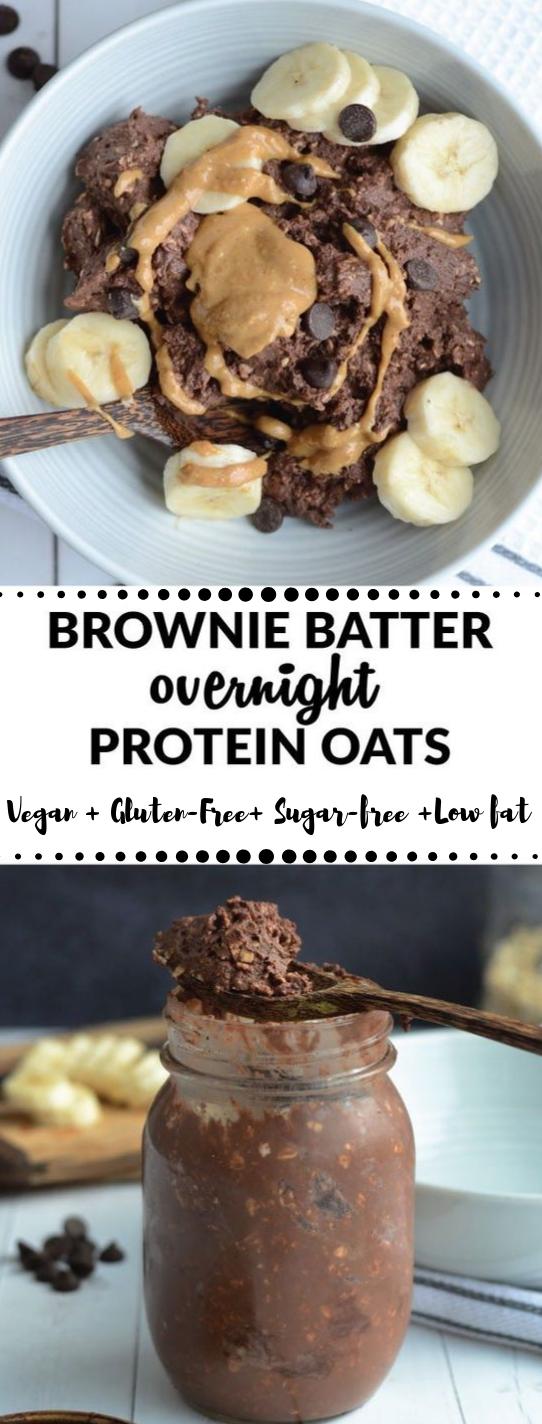 BROWNIE BATTER OVERNIGHT PROTEIN OATS #vegetarian #vegan #mushroom #protein #food