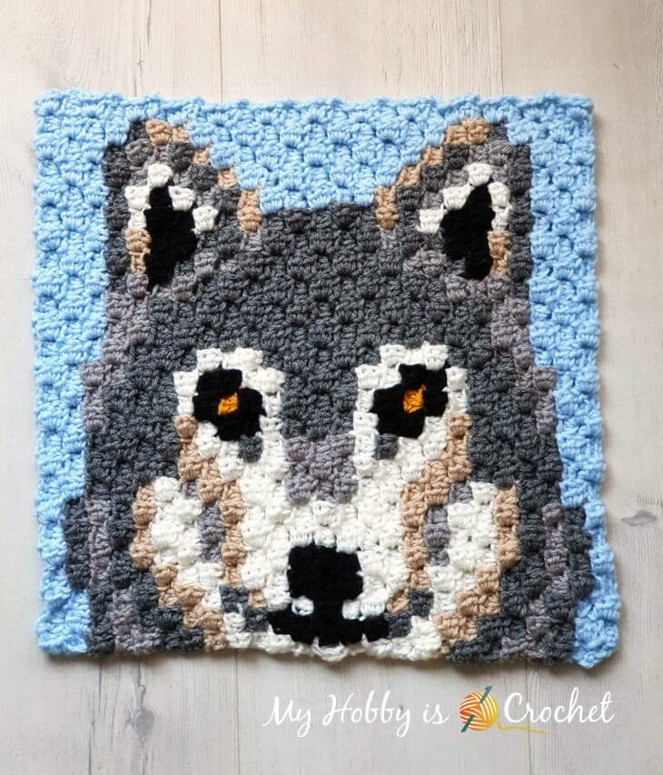 """Grey Wolf C2C Square - Free Crochet Pattern"