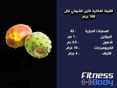 القيمة الغذائية للتين الشوكي 100 جرام