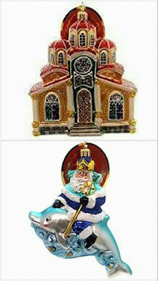 Holy Sanctuary & Santa Poseidon on a dolphin Christmas ornaments by Christopher Radko