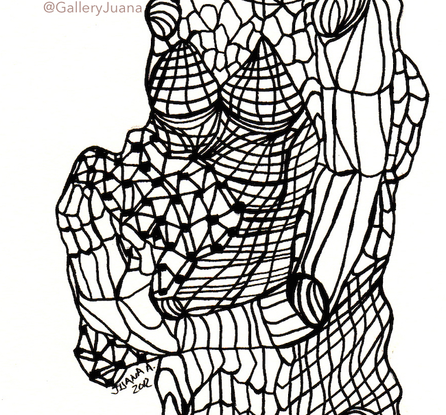 Pieces II, pen drawing, gallery juana