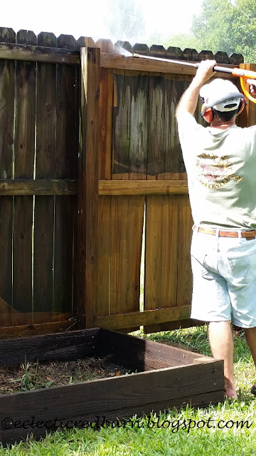 Eclectic Red Barn: Power washing the fence