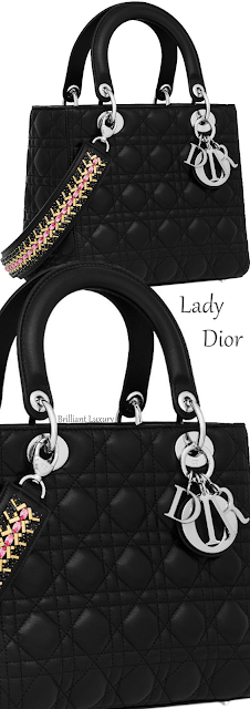Black lambskin Lady Dior bag with crystal embroidered strap #brilliantluxury