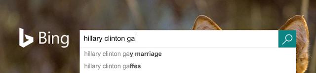 Bing pensa que o usuário está procurando suas gafes ou talvez sua visão instável sobre o casamento gay.