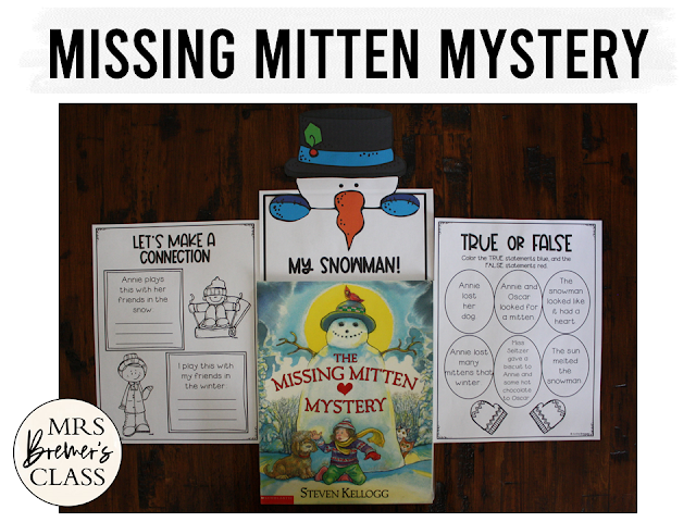 The Missing Mitten Mystery winter book study literacy unit with Common Core aligned companion activities and a craftivity for K-1