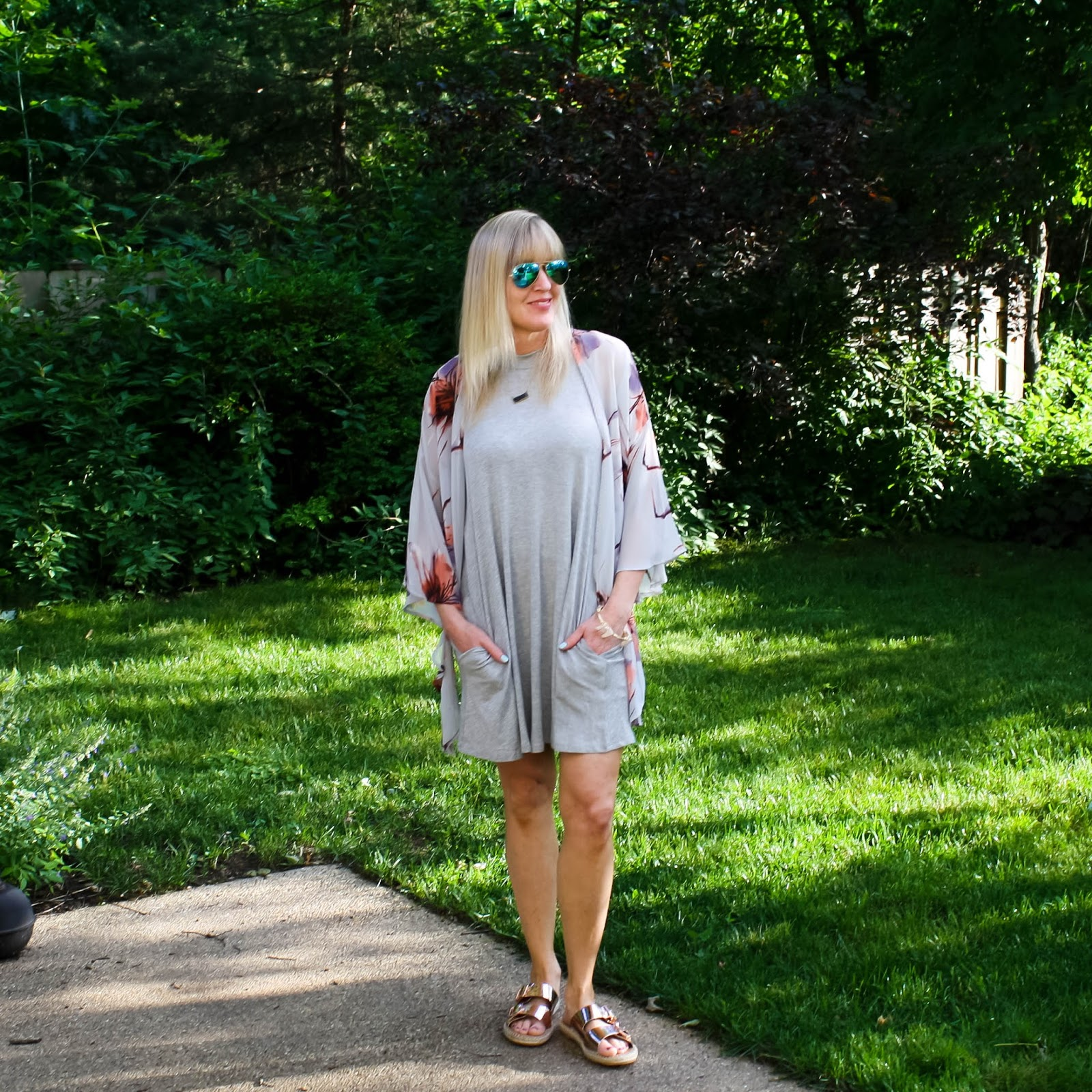 Grey Swing Dress + Floral Kimono