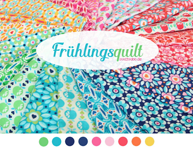 stitchydoo: Kunterbuntes Frühlings-Patchwork | Economy Block Quilt to be... - Bunte Stoffe aus der Seria Surprise Surprise von Jolijou
