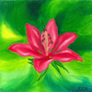 Pink lily oil painting