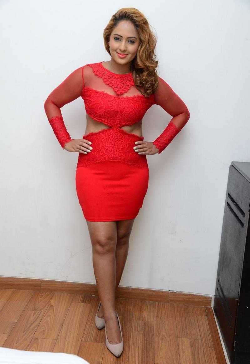 Actress Nikesha Patel Legs Thighs In Red Dress