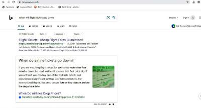 Bing Search when will flight price go down