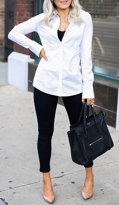 If you are looking for a new look to get with your black skinny jeans then have a look at these 20 stylish black jeans outfits to copy this fall season. Casual Outfits via higiggle.com | jeans + white shirt | #jeans #blackjeans #casualoutfits