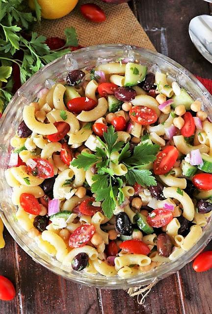 Greek Macaroni Salad with Kalamata Olives, Feta, and Chickpeas Image