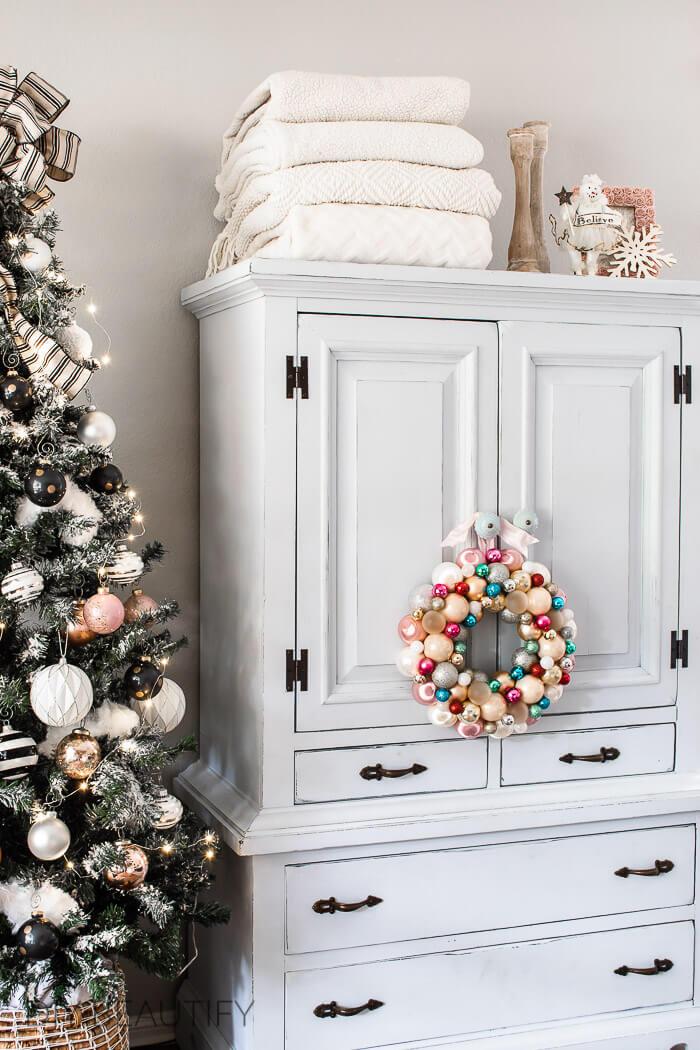 vintage pastel ornament wreath