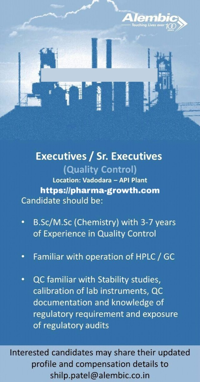 Alembic Pharmaceuticals Ltd - Urgently Opening for Quality Control  Apply CV Now