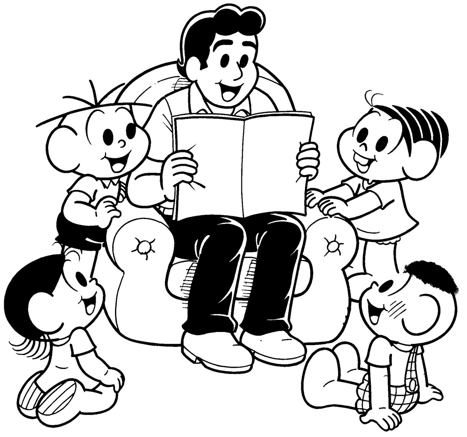 Desenho Da Turma Da Mônica No Dia Dos Pais Para Colorir
