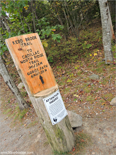 Señales en los Senderos del Parque Nacional Acadia en Maine