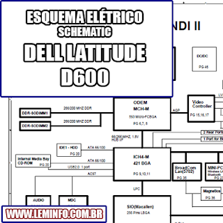 Esquema Elétrico Notebook Laptop Dell Latitude D600 Manual de Serviço  Service Manual schematic Diagram Notebook Laptop Dell Latitude D600    Esquematico Notebook Laptop Dell Latitude D600