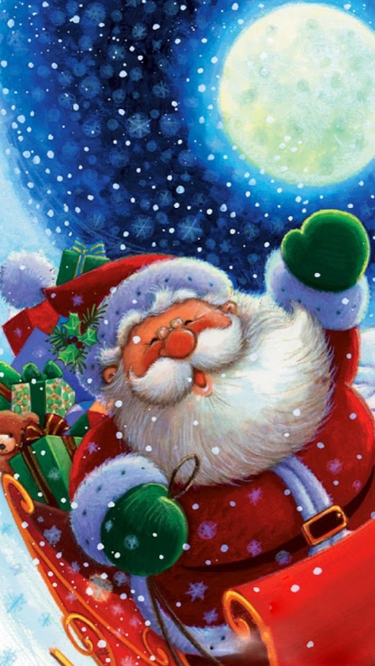 Cute Santa Claus Christmas Illustration  Galaxy Note HD Wallpaper