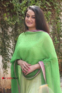 Actress Sonia Agarwal Stills in Green Anarkali Dress at Agalya Tamil Movie Launch  0005.jpg
