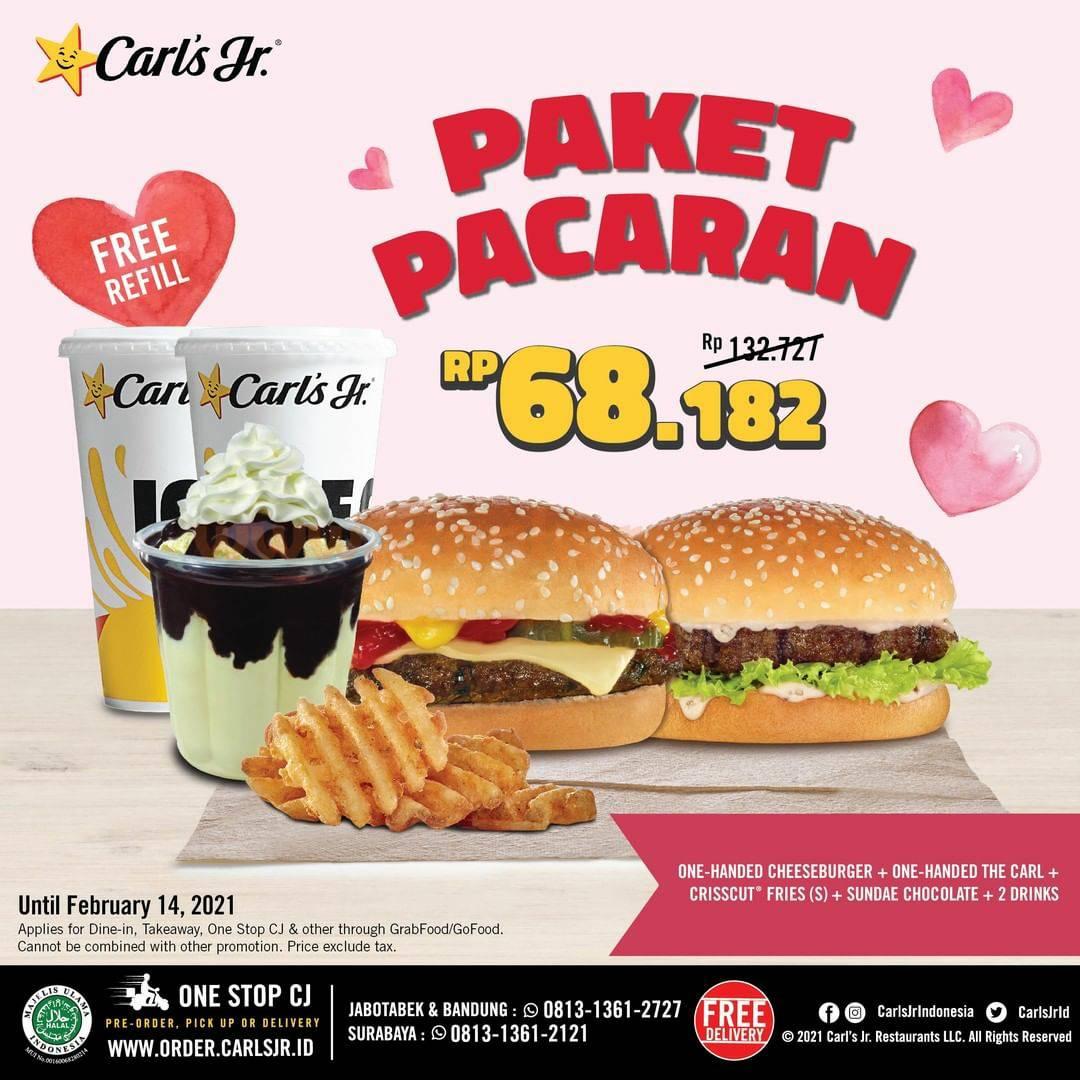 CARL'S JR Promo PAKET PACARAN! harga hanya Rp 68.182 + Gratis Minuman Refill