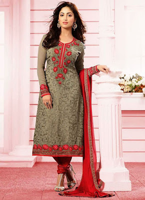 Beautiful Bollywood Star And Model Yami Gautam In Brown Georgette Churidar Suit.