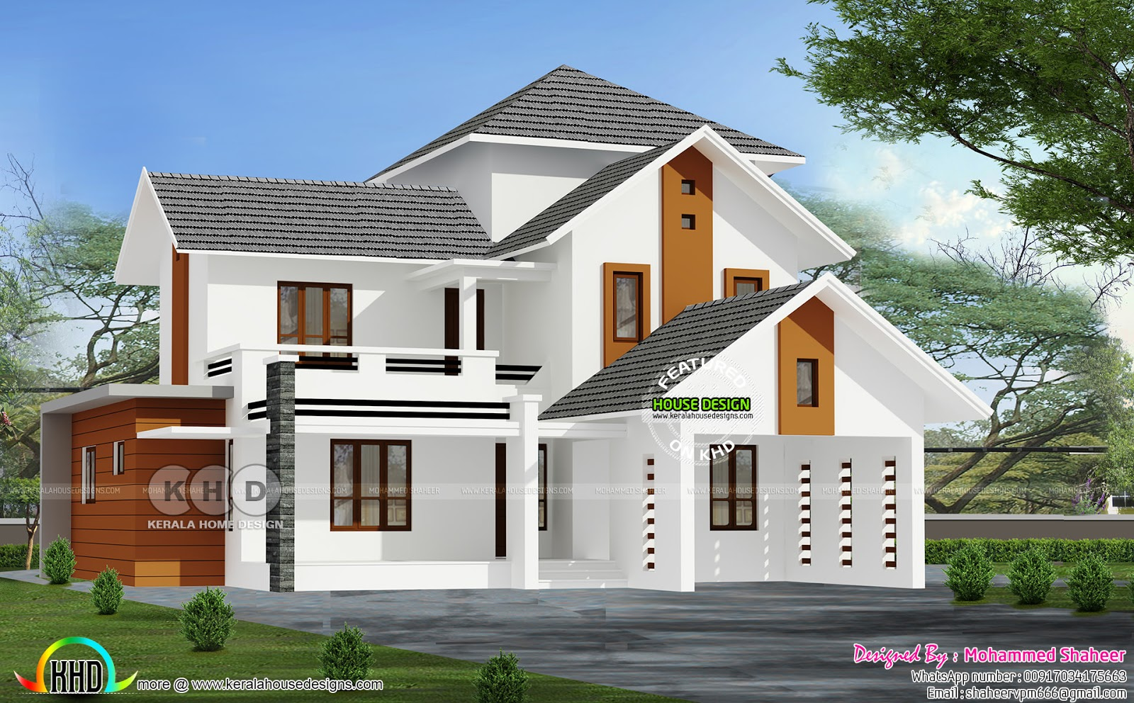 Sloping roof 3000 sq ft house with 4 bedrooms kerala for 3000 sq ft building