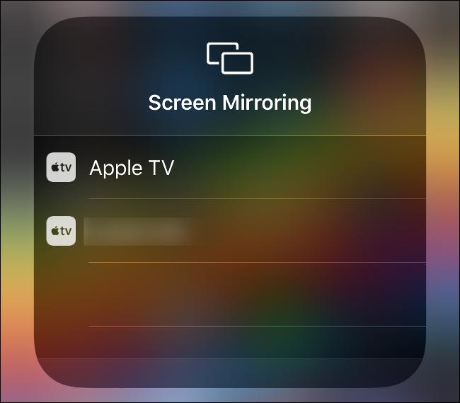 """قائمة """"النسخ المتطابق للشاشة"""" في مركز التحكم."""