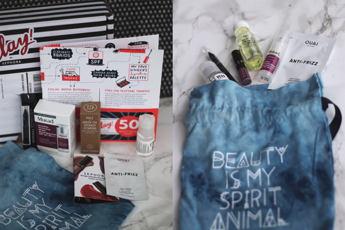 College Blogger, Beauty Blogger, Lifestyle Blogger, Makeup Review, Beauty Subscription Box Review, Sephora Play Box Unboxing, Ouai Anti-frizz Hair Sheet, Verb Ghost Oil, Sephora Collection Cream Lip Stain Liquid Lipstick, Sephora Collection Contour Eye Pencil, Youth to the People Superfood Cleanser, Murad Invisiblur SPF