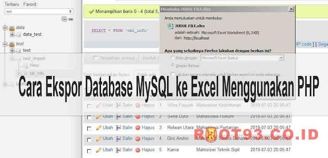 Cara Ekspor Data MySQL ke Excel Menggunakan  PHP