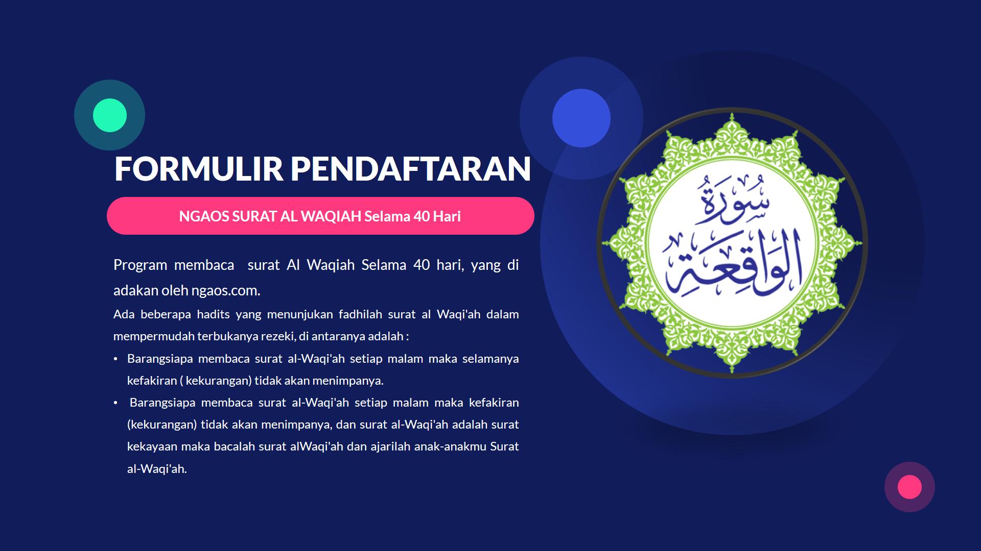 Program Membaca Surat Al Waqiah 40 Hari
