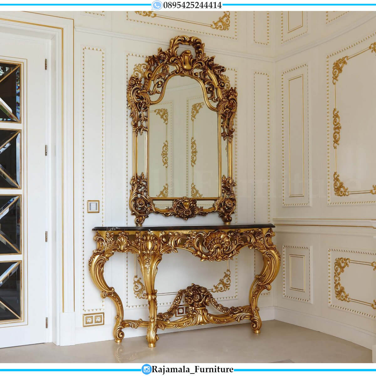 Meja Konsul Mewah Terbaru Golden Shadow Color Luxury Carving Jepara RM-0673