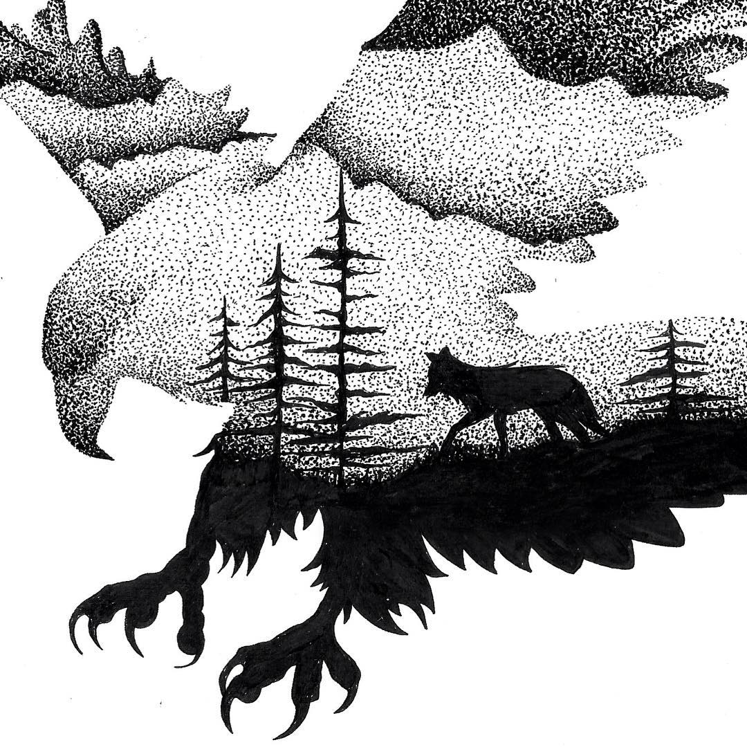 01-Eagle-and-Fox-Thiago-Bianchini-Eclectic-Collection-of-Drawings-and-Illustrations-www-designstack-co