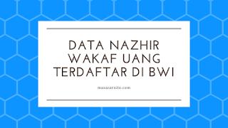 Data Nazhir Wakaf Uang Terdaftar Di Badan Wakaf Indonesia