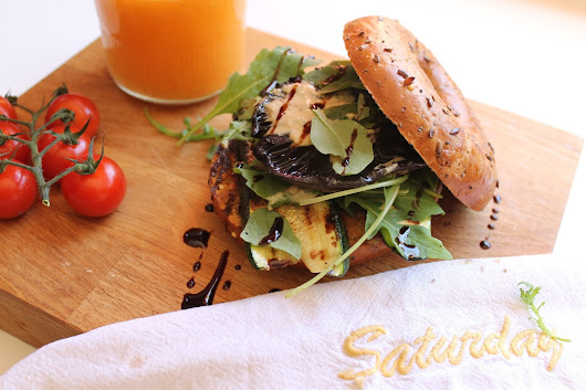 Grilled Mushroom and Courgette Bagel Burger