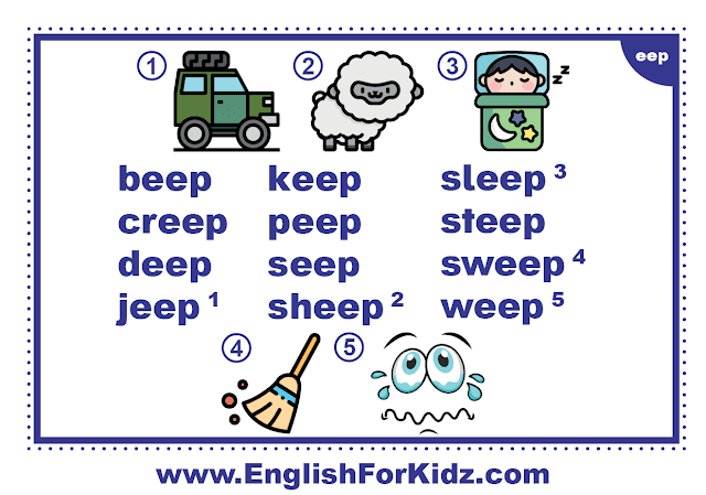 eep family words - printable flashcard with pictures