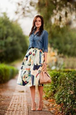 tendências na moda da saia estampada