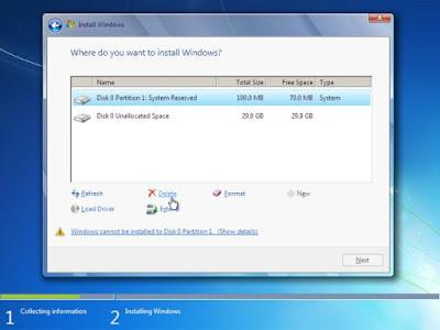 Menghapus partisi sistem Windows sebelumnya