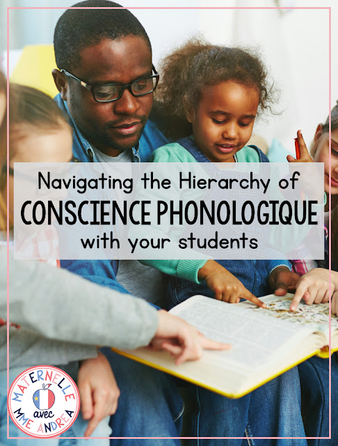 Not sure what everyone is talking about when they refer to la conscience phonologique? Check out this blog post that outlines the Hierarchy of Conscience Phonologique and all that you should be teaching & practicing with your maternelle students!