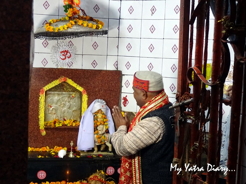 Deity of Goljyu Devta in white at Chitai Golu Devta Temple Almora Uttarakhand