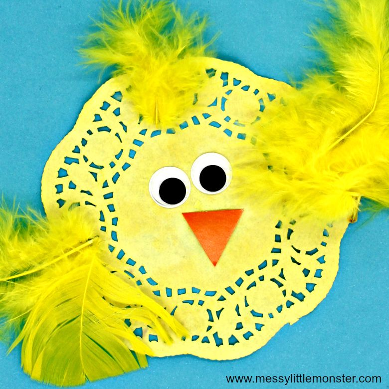 Easter crafts for preschoolers - paper doily chick craft