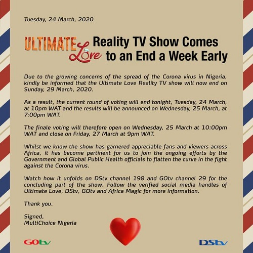 Ultimate Love Reality Show Forced to Come to an End Due to Coronavirus