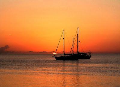 Exuma Sailboats Sunset
