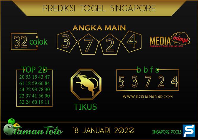 Prediksi Togel SINGAPORE TAMAN TOTO 18 JANUARI 2020