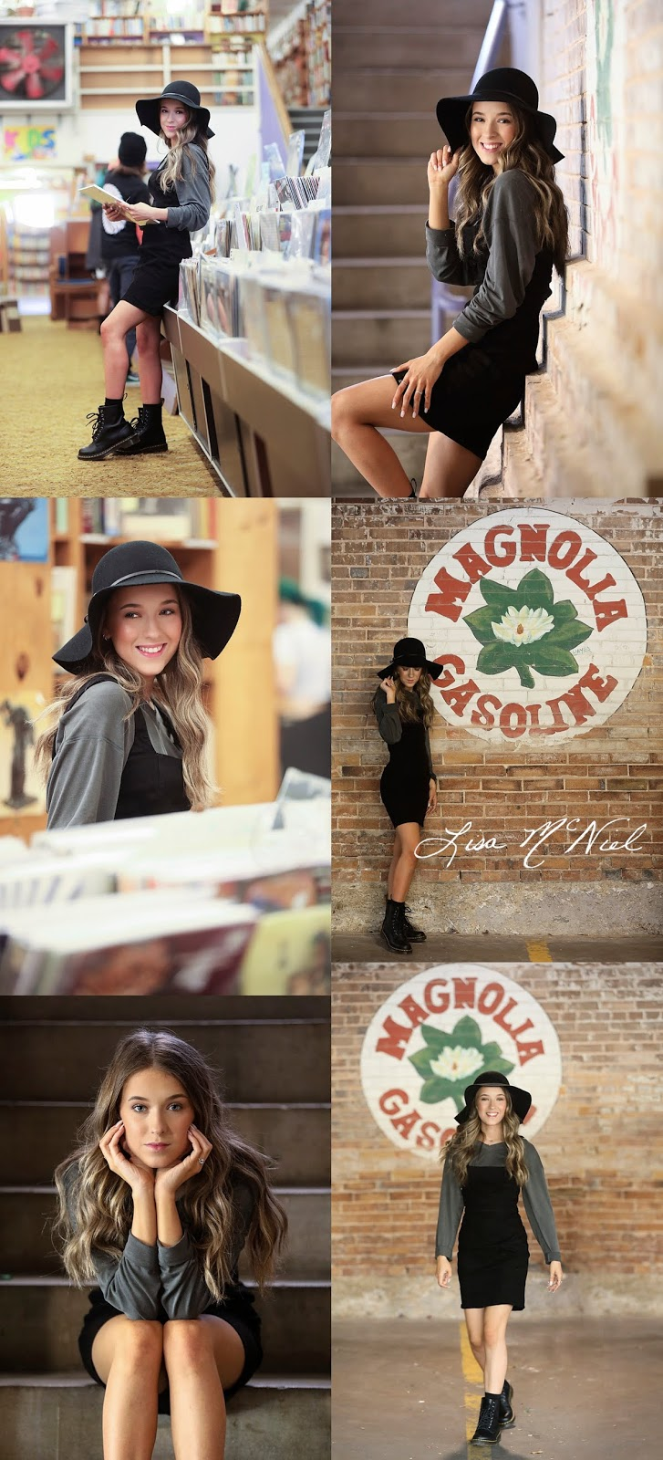 collage of pretty teen in bookstore and city hat and boots