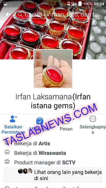 Akun facebook penjual online batu akik asal Besitang yang menipu pembelinya.