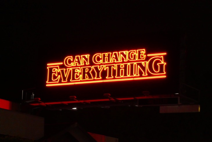 Can Change Everything Stranger Things 3 neon billboard night
