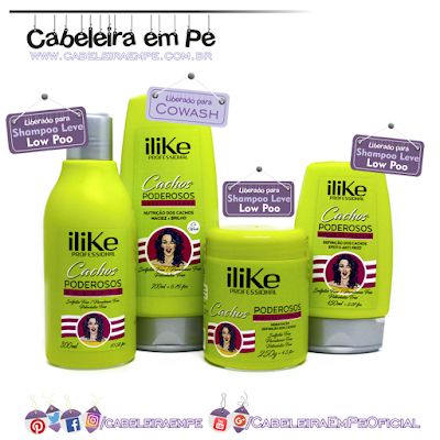Linha Cachos Poderosos - ILike - Cowash (No Poo), Shampoo, Máscara e Leave in (Low Poo)