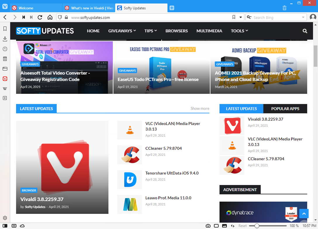 Vivaldi Web Browser 3.8.2259.37